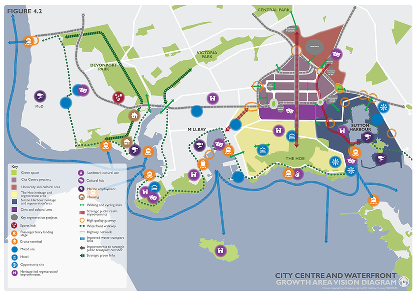 Figure 4.2 - City Centre and the Waterfront Growth Area Vision Diagram